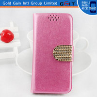 Luxury Wallet Case With Diamond Button For iPhone 5G, Silk Pattern Leather Diamond Case For iPhone 5G
