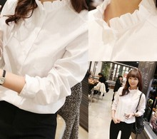 C28382A Ladies Cotton Plain White Blouses