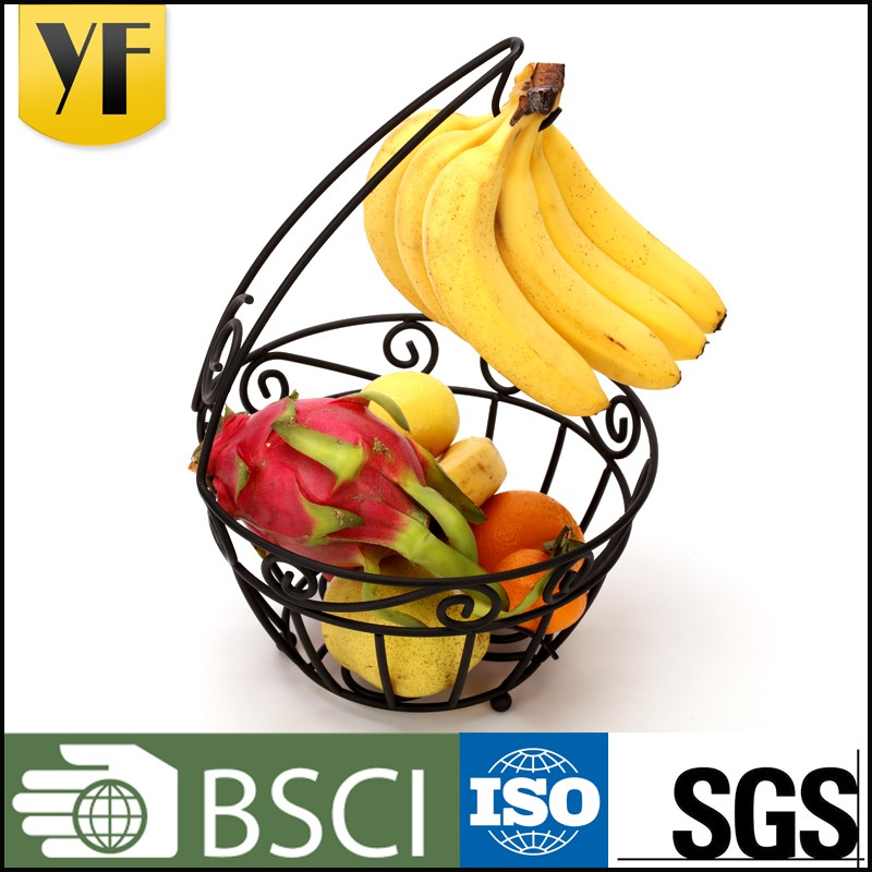 China manufacture outlets empty fruit basket with banana holder