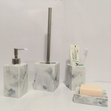 Square body white marble resin bathroom bath accessories set