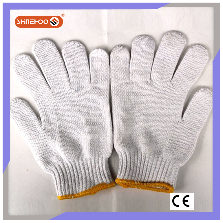 SHINEHOO Bleached White Polycotton Knit Clean Hand Gloves