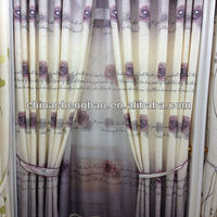 Wholesale very cheap rose printed pattern window curtains