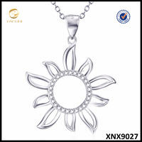 Clear Crystal Sun Necklace 925 Sterling Silver Jewelry Wholesale Nice Women Jewelry