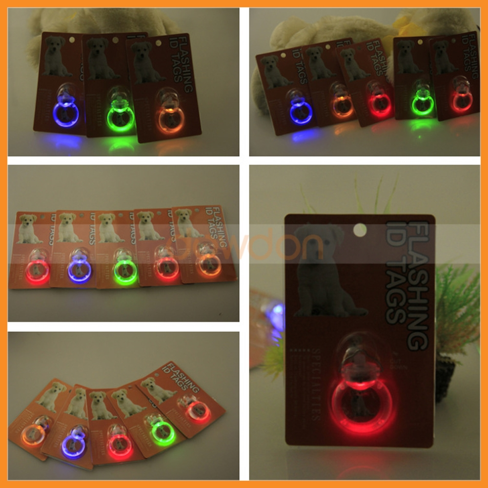 Round Shape LED Pet Collar Safety Light Tag