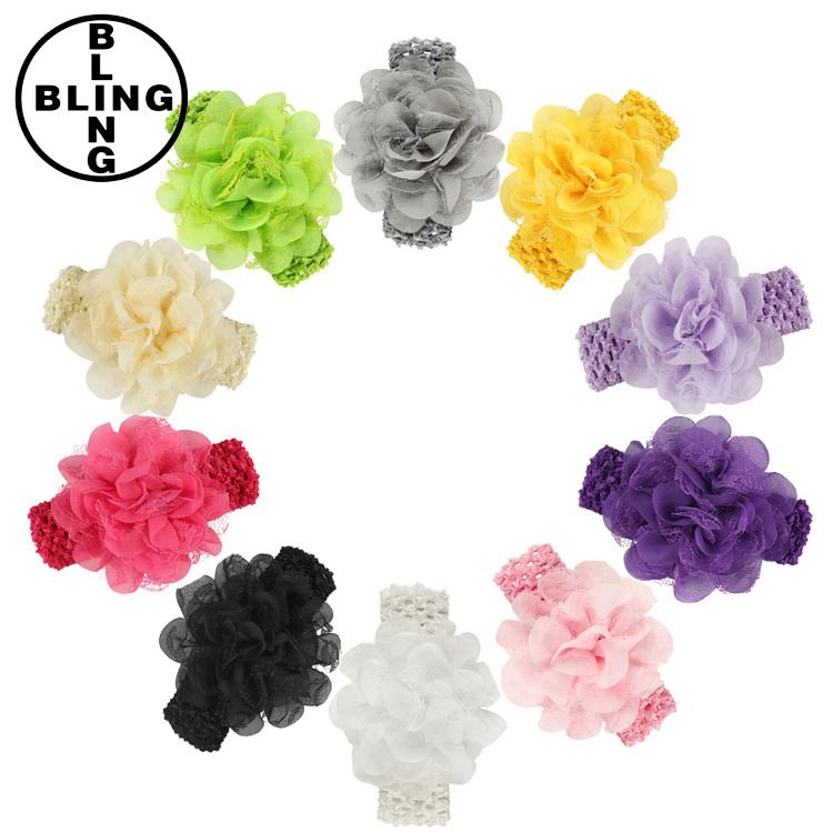 >>>>2017 Baby Headband Toddlers Kids Infants Crochet weave Hairband & Big Chiffon flowers Headbands Children hair Accessories/