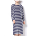 Custom label dress for women casual dress cotton long sleeve striped long dress