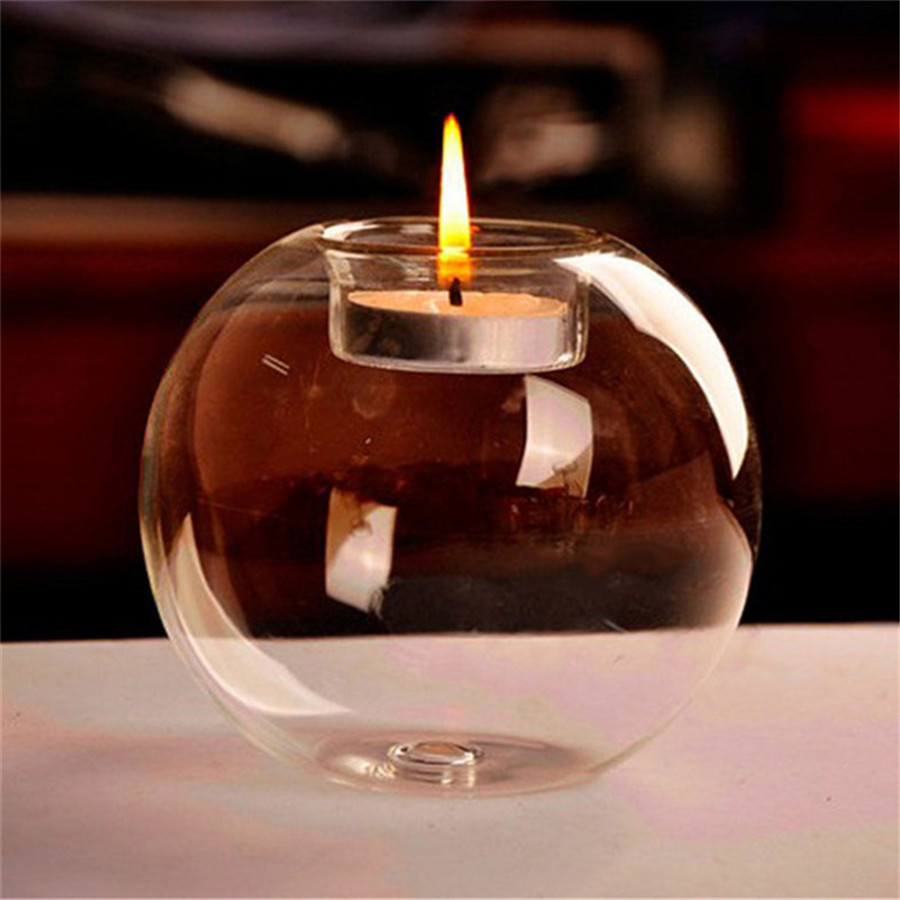 round ball Crystal beads wedding glass candle holder cheap