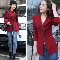 Fashion Women Blazer Turn Down Collar Slim Zipper Long Sleeve Thin Warm Coat SV006833