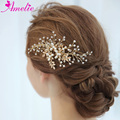 Women Headpiece Gold Hair Comb Delicate Crystal Bridal Hair Side Engagement Party Accessories Hair Comb Vogue Jewelry