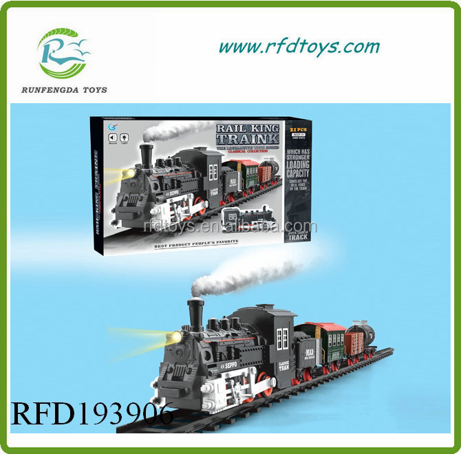 Electric rail train toy funny train with smoking rail car
