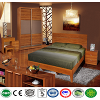 Ancient type bedroom furniture set mdf material contains bed wardrobe beside and dressing table