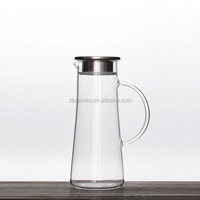 1200ml Large borosilicate glass cold tea pot with 304 stainless steel lid