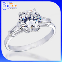 Factory High Quality White Gold 925 Sterling Silver 2.0 CT Round Cz Diamond Wedding Ring Zircon Solitaire Engagement Ring
