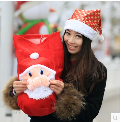 2015 High Quality Wholesale Children drawstring Christmas Gift Bag For Candy