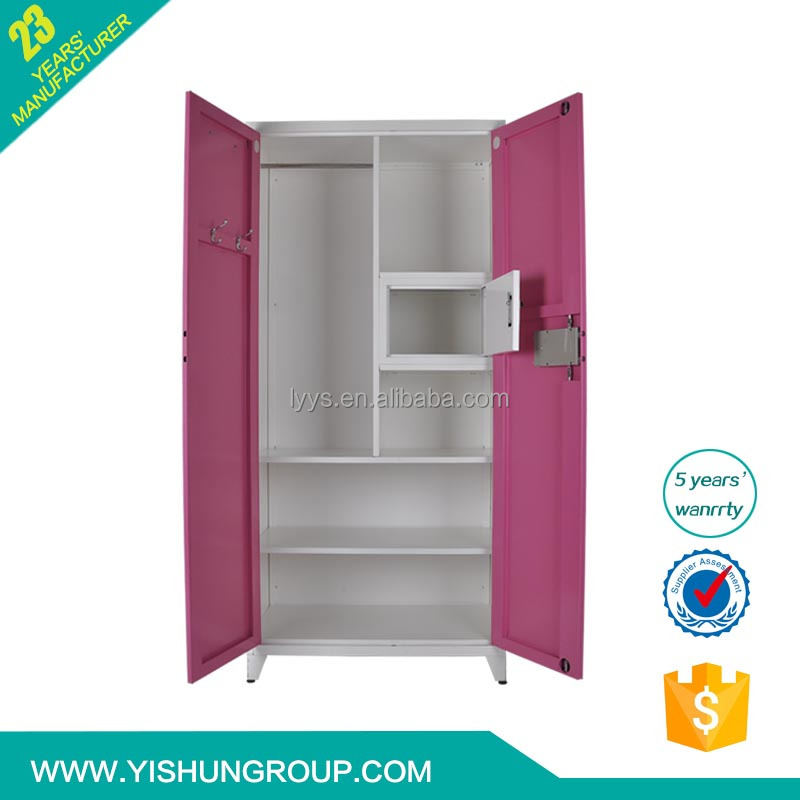 Cheap india steel almirah/steel bedroom wardrobe design with mirror