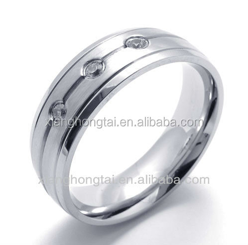 Wholesale Titanium Health laser logo Zircon Magnetic Ring stainless steel wedding band rings