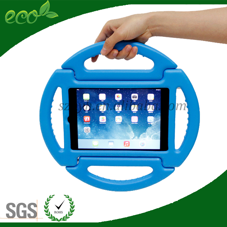 OEM 8 inch foldable handle custom wheel shape EVA foam tablet cover EVA tablet case for ipad mini