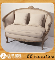French country style upholstery hand carving wooden settee