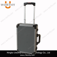 Aluminum Flight Pilot Trolley Case with Wheels and Handle
