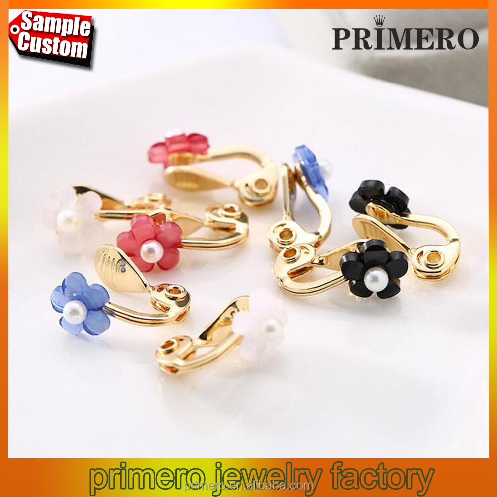 Lovely single clip flower earrings fake non pierced ear bones clip