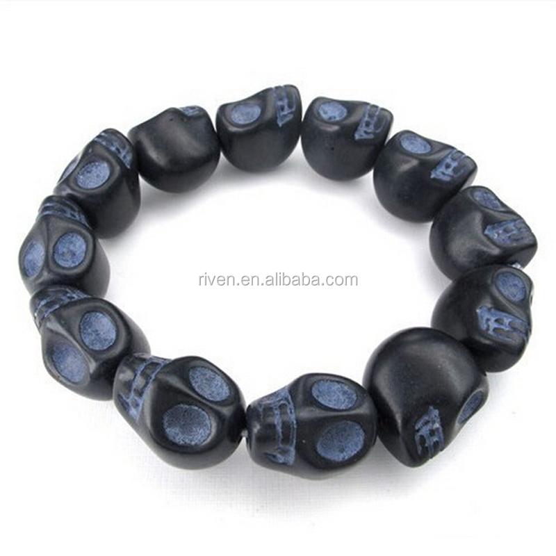 SN0001 Unisex Natural Stone Beads Carved Blue Skull Stretch Elastic Bracelet.jpg