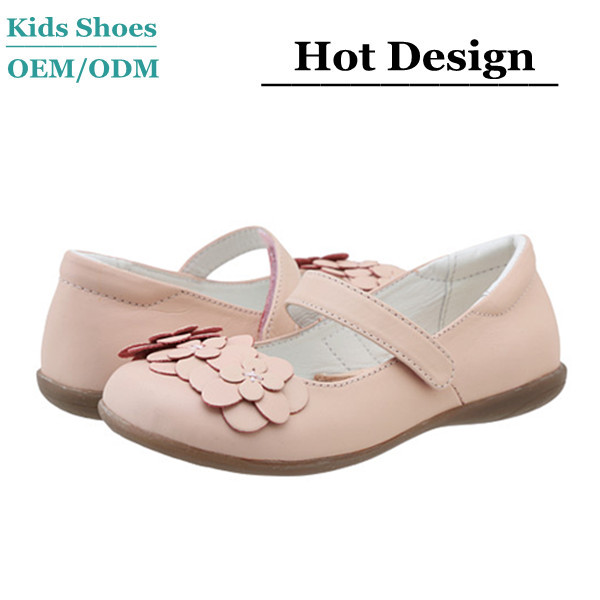 Lovely desgn nude girls pink sheepskin leather dance shoes oxford sole flower flat ballerina shoes