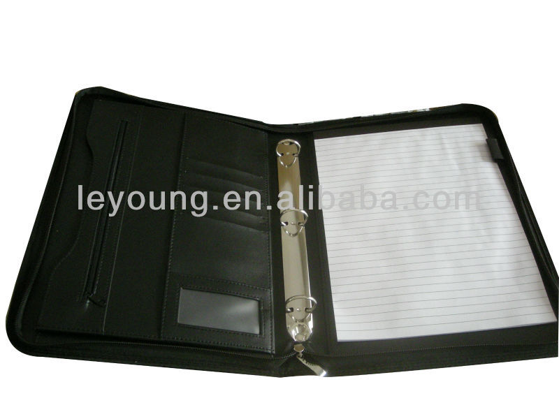 Logo Imprint A4 zipper leather bound padfolio with 3 ring binder