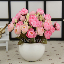 Hot recommended 18 head mini craft rose bonsai colorful rose buds stars bract simulation flower Silk flowers artificial flowers