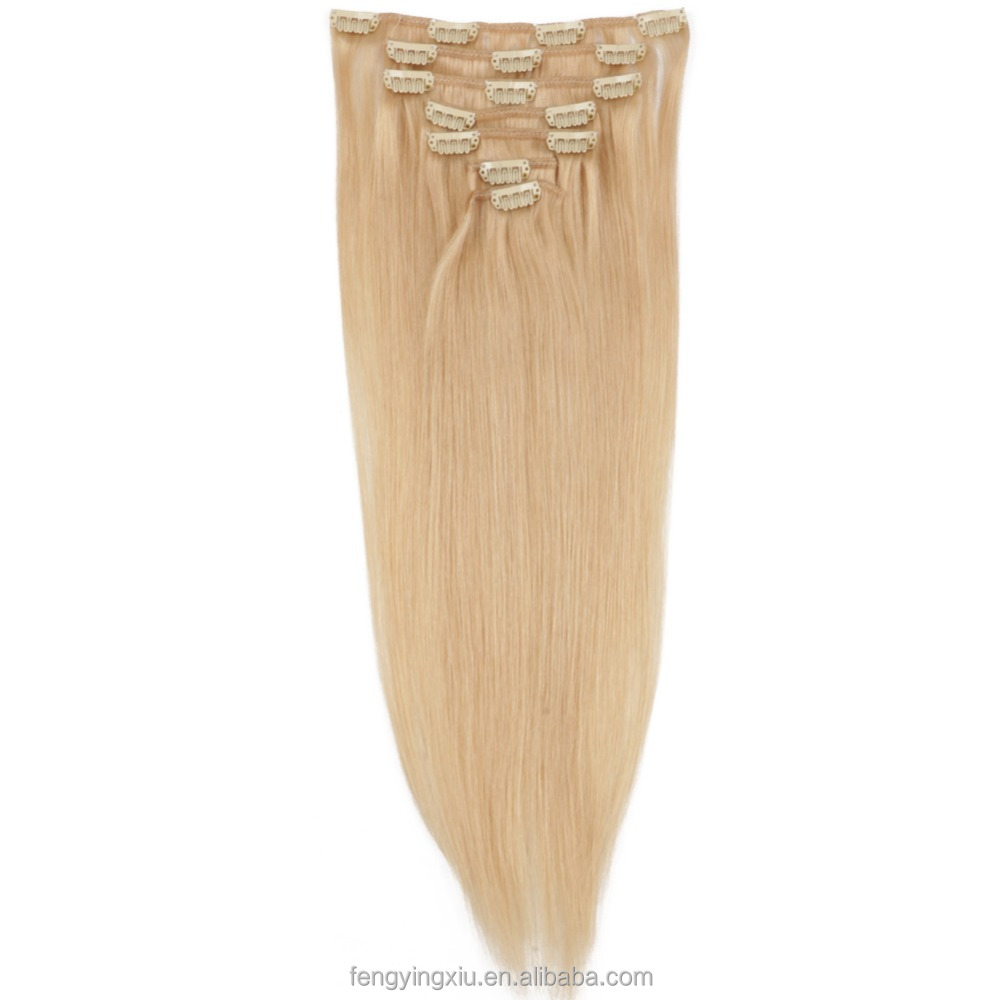 8a Clip In Brazilian Virgin Hair Natural Blonde Highlighted Human Hair Extensions Aplique Tic Tac 24# Cabelo Humano Tic Tac