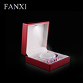 FANXI China Supplier Custom Red Rubber Jewelry Gift Boxes Storage Logo Foiled Velvet Led Light Bracelet Box Bangle Display Box