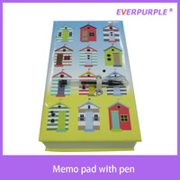 Good quality novelty wholesale colorful printing beautiful notepad,sticky note pad,memo pad with pen