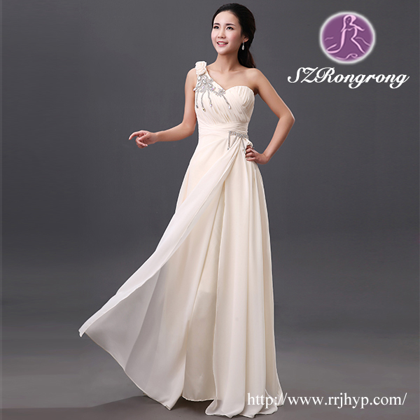 LF009 New White/Ivory Georgette One-shoulder Bodice Crystal Bride Evening Dress 2016