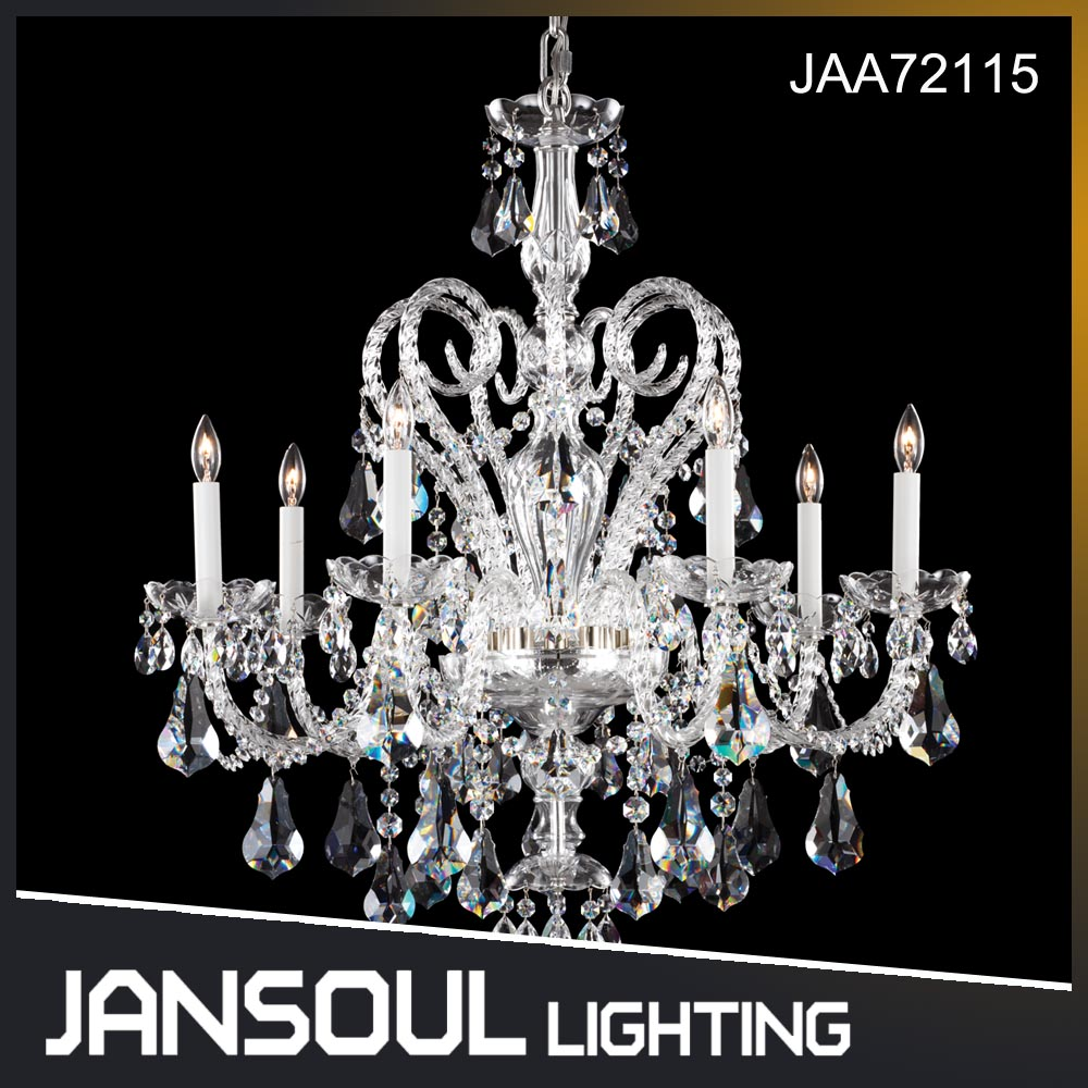 Modern Popular Design 6 lights Drop Crystal Chandeliers Handmade Glass Hanging Pendant Lights