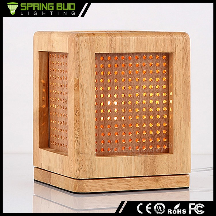 New modern Fashioned Oak color Bar Table Light square vintage wood cage table lamps for bedroom