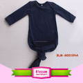 Wholesale Lap Shoulder Infants Toddler Unisex Long Sleeve Night Gown Boutique Solid Blank Baby Sleeping Bags Knotted Baby Gowns