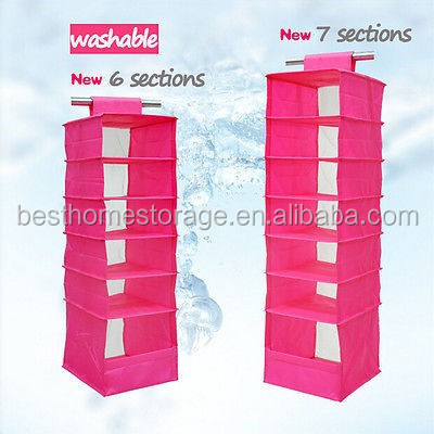 OEM &ODM Different Type Foldable Colour Canvas Polyester Non Woven Clothes Hanging Closet Organizer Customized Material