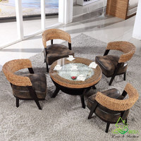 2016 New Modern Design Rattan Water Hyacinth Wooden Coffee Shop Tables and Chairs Set