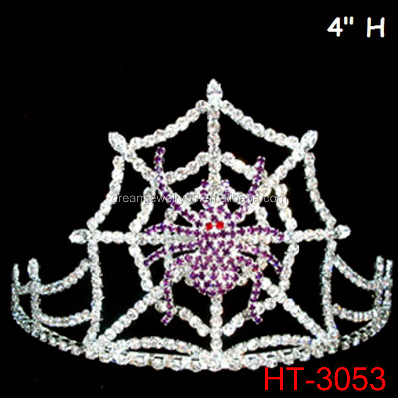 Purple Crystal Spider Web Halloween Crown 4inch Tall Tiaras