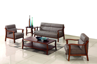 wooden hotel sofa design lobby sofa set with leather