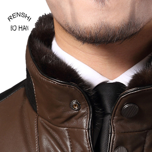 luxury top quality mink fur collar for men jacket