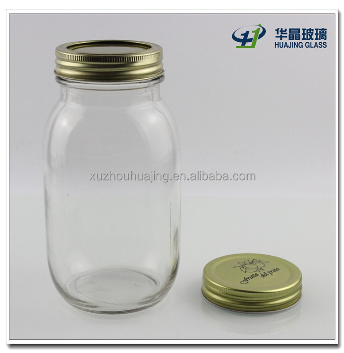 High quality clear empty 800ml bulk glass mason jar with tin lid for jam honey cookie wholesale