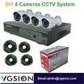 4 Cameras Surveillance CCTV System Cameras, 720P Resolution 4 channel DVR including Cables and Adapters