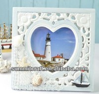 Pure white and blue square with love art mind wood frames
