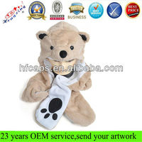 Teddy bear shape adult pulsh winter animal hats
