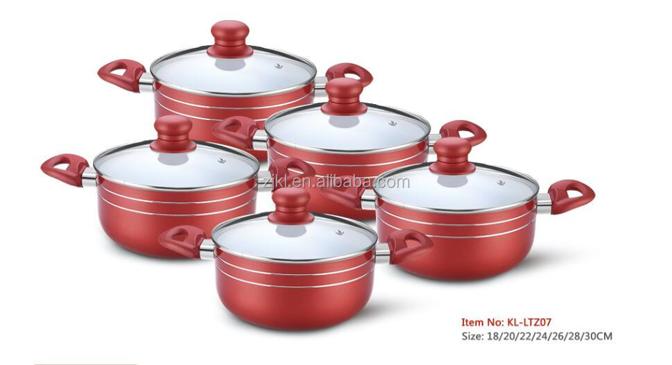 10PCS Wine Red Aluminum Ceramic Coating Cookware Set