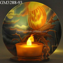 halloween light up glass candle holder