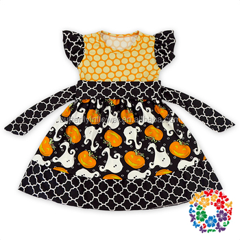 wholesale halloween baby clothes Pumpkin printed halloween party girls puffy dresses