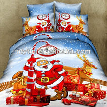 100% cotton 3D twill new christmas design reactive printing bedding flat sheet set S-YDN-13041608
