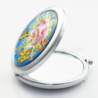 Flowers and butterflies round metal purse mirror compact favors
