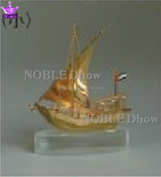 Noble New Metal Arab Dhow On Clear Crystal Base 2A-15918-0012